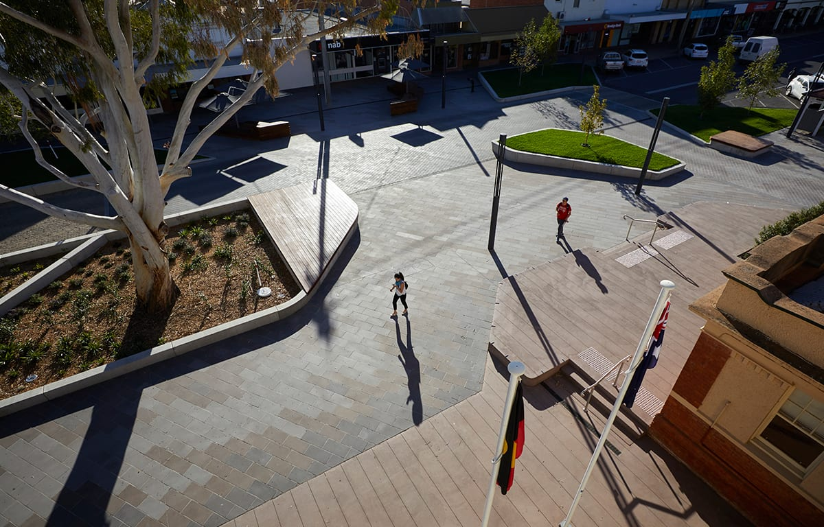 overhead view of Victoria Square Kerange, paved area, gumtree and pedestrian