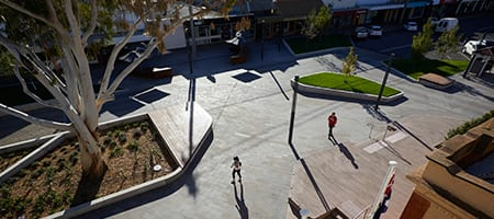 Overhead view of Victoria Square Kerang with pedestrians