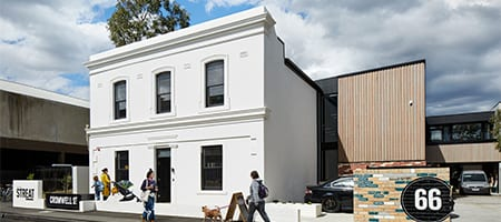 Streetview of white double storey cafe in Collingwood