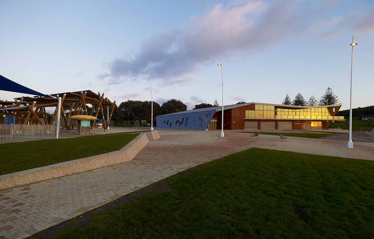 paved and grassed areas at Devonport Surf Life Saving Club