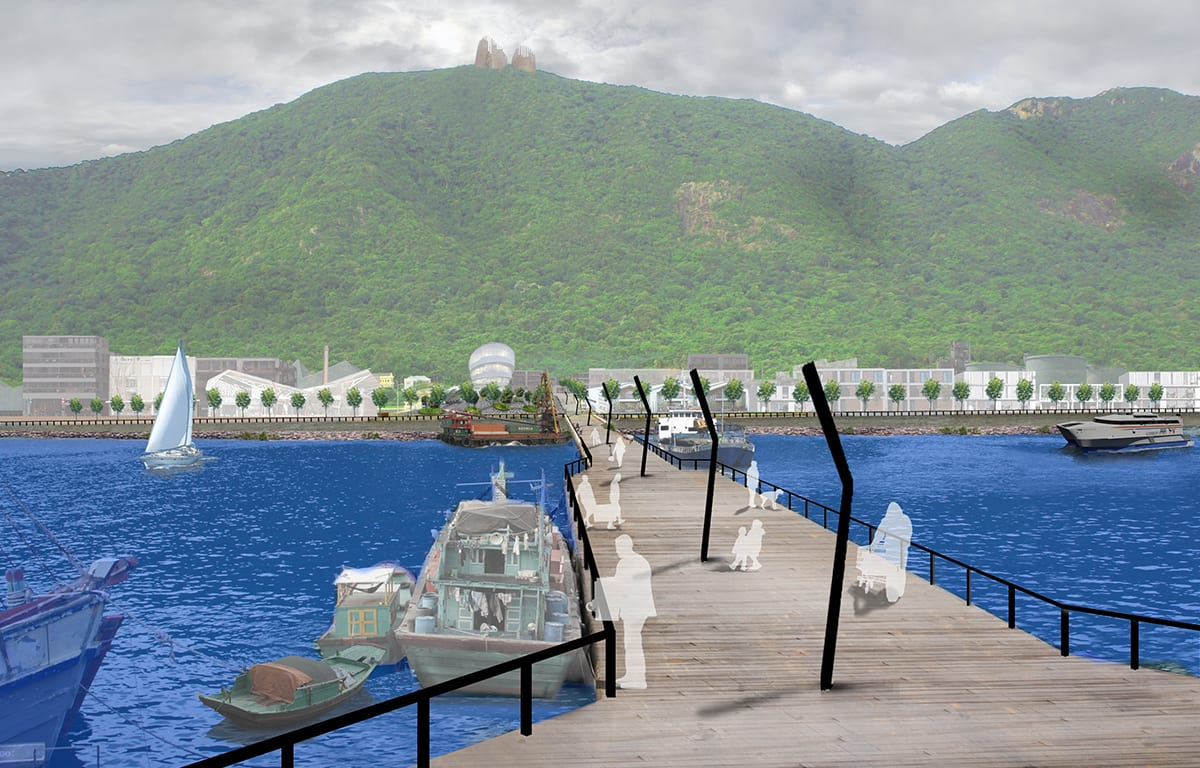 Artists impression of boardwalk at Con Dao with view to mountains, Vietnam