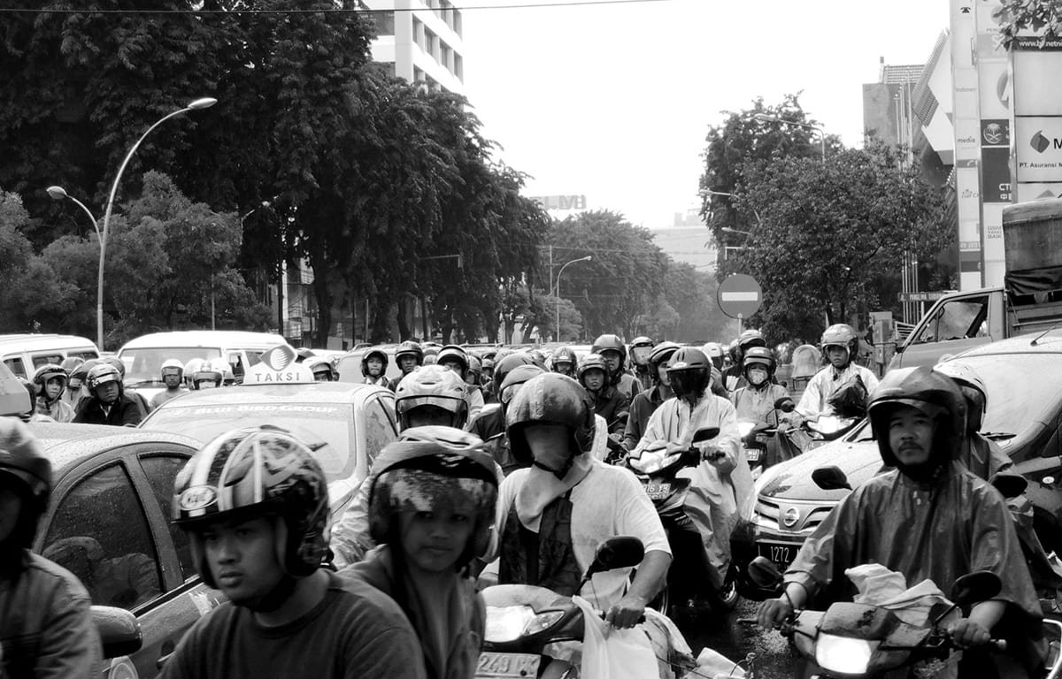 Traffic congestion in Surabaya, Indonesia, motorbikes and cars